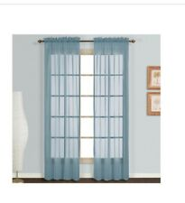 Monte Carlo Sheer Voile 84-Inch Rod Pocket Window Curtain Panel Pair Slate Blue
