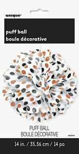 "14"" Orange & Black Polka Dot Halloween Tissue Paper Pom Pom"