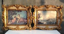 Matching pair of lightweight faux ornate antique style frames gold in colour