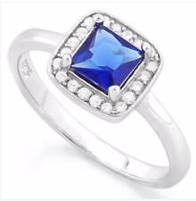DIAMOND & SAPPHIRE HALO RING  ENGAGEMENT RING SILVER GENUINE  F- IF  1.52 CWT!!