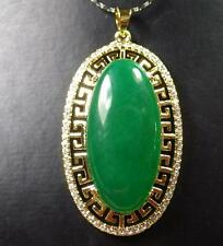 Cabochon Necklace Diamond (Imitation) 286822 Gold Plate Green Jade Pendant