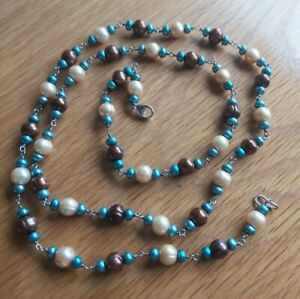 """HONORA MULTI COLOURED CULTURED PEARL NECKLACE 925 CLASP 36"""" LENGTH"""
