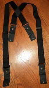 Spyder men's women's black on black logo Adjustable Stretch Suspenders Snap Loop