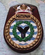 HMS Matapan bronze cloison navire crest plaque bouclier