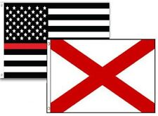 2x3 Usa Fire Thin Red Line Alabama State 2 Pack Flag Wholesale Set Combo 2'x3'