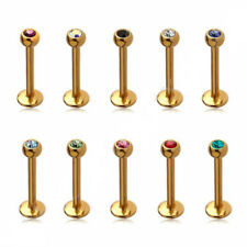 2X 16g Gold Surgical Steel Crystal Labret Bar Lip Stud Tragus Piercing Jewellery