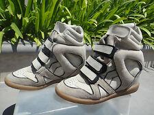 Isabel Marant Bekett Suede Concealed Wedge Sneaker, Hook & Loop Closure, EUR37