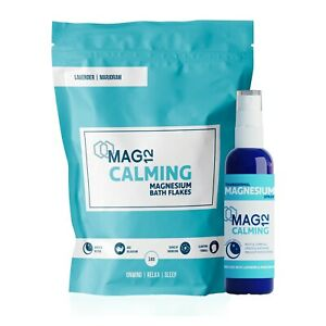 MAG12 Calming Magnesium Bath Flakes and Spray Bundle | Soothes & Promotes Sleep