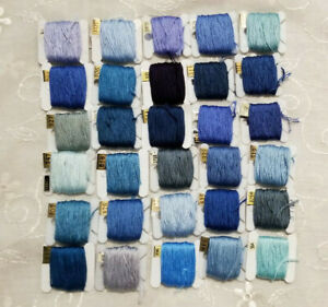 DMC Floss Lot 30 On Bobbins All Blue