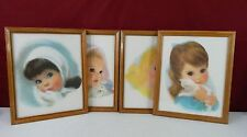 "4 NORTHERN TISSUE Girls 11"" x 14"" 1950s Lithograph Prints Framed"