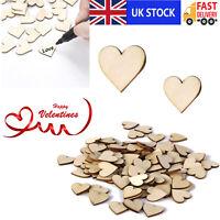 100 x Wooden Heart Shapes Blank Embellishments Craft 2cm/4cm Valentine Decor