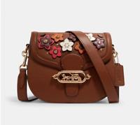 🎁 COACH Jade Saddle Bag with Daisy Floral Applique Handbag Crossbody Purse NWT
