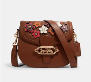 🎁 COACH Jade Saddle Bag with Daisy Floral Applique Handbag Crossbody Purse NWT