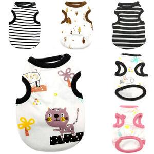 XS-XL Cute Stripe Cartoon Pet Dog Vest Clothes Spring Summer Small Dog Cat Shirt