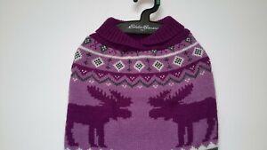 NEW Eddie Bauer Pet Moose Snowflake Fair Isle Dog Sweater Large Purple Grey