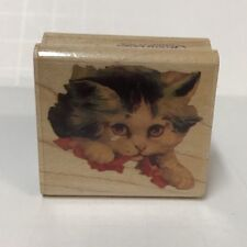 Rubber Stampede Stamp Cynthia Hart 309-C Curiosity Cat Face 1992 Wood-Mounted