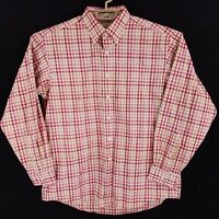 LL Bean Red Plaid Check Wrinkle & Stain Resistant Button Front Shirt Mens Large