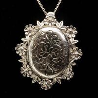 Vintage 1976 Large Ornate Flower Locket Brooch 925 Sterling Silver Necklace