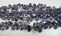 """AAA Quality Natural Iolite Faceted Pear Drops Beads , 8"""" Strand , FREE SHIPPING"""