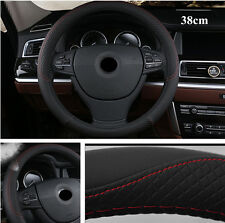 15inch 38cm Car Steering Wheel Cover Black & Red Stitching PU Leather Anti-Slip