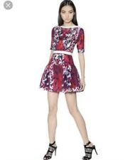Peter Pilotto Natalie Waffle Silk Dress Size 12 Red Pink Blue