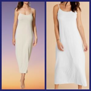 NEW Ex M&S Ladies Chemise Long Slip Lace Trim Stretch White Almond Size 16 - 22