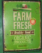 SHABBY VINTAGE FARM FRESH SIGN METAL WALL PLAQUE  KITCHEN DAIRY SHOP ORGANIC