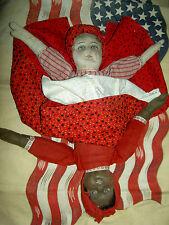 """Bruckner, 1901 Antique cloth black Americana Topsy-Turvy 2-sided doll 14"""" tall"""
