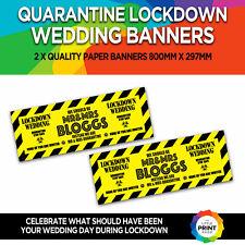 2 x PERSONALISED SHOULD BE MR & MRS ?? QUARANTINE LOCKDOWN WEDDING PAPER BANNERS
