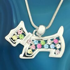 "DOG Multicolor W Swarovski Crystal Pet Puppy Pendant Necklace 18"" Chain Charm"