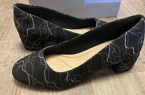 Clarks Orabella Alice Black Interest Leather nubuck Shoes pumps Size UK 4 D