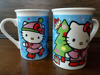 RARE SET OF 2! SANRIO HELLO KITTY CHRISTMAS HOLIDAY COFFEE ESPRESSO MUG CUP