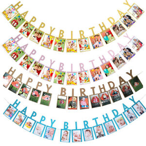 Photo Banner Happy Birthday Party Buntings Pastel Hanging Garlands Decorations