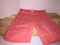 Lady Hagen Womens Golf Bermuda Shorts Pink Gray Plaid Flat Front Pockets 10