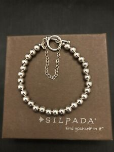 SILPADA B0059 NEW .925 STERLING SILVER 6 MM BEAD BRACELET TOGGLE SAFETY CHAIN