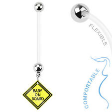 14g (1.6mm) Bioflex Baby On Board Logo Pregnancy Belly Bar / Navel Ring