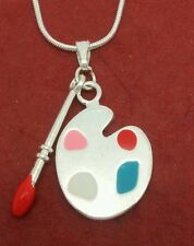 Silver Plated Art Necklace charm pendant and chain artist palette brush Painter