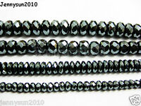 Natural Black Jet Hematite Gemstone Rondelle Spacer Beads 16'' 4mm 6mm 8mm 10mm
