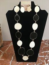 KENNETH JAY LANE Signed Couture BLACK & WHITE Statement Necklace & Earring SET!