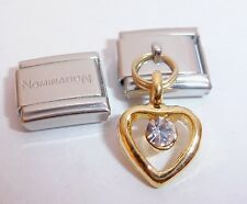 GOLD HEART CLEAR GEM 9mm Italian Charm + 1x Genuine Nomination Classic Link LOVE