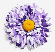 "4.5"" Purple & White Splash Gerbera Daisy Silk Artificial Flower Hair Clip Pinup"