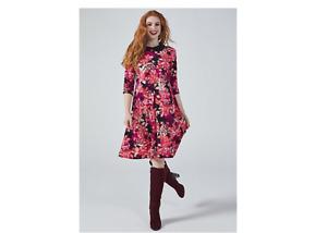 Kim & Co Brazil Jersey 3/4 Sleeve Contrast Collar Flared Dress Blackberry Medium