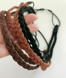 Women Girl Braided suede leather Bohemian Braided Beach hair band headband Wrap