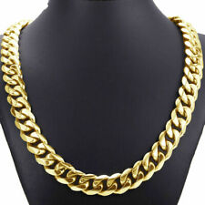 """Gold Curb Cuban Chain Men Necklace 24""""15mm Top 316L Stainless Steel Heavy Link"""