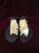 NIB Visconti & Du Reau Gold Maui Fringe Thong Sandals Metallic 7.5 M  EU 38