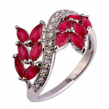 Women Twinkling Red Crystal Gemstone Silver Ring 18k White Gold Plated Jewelry