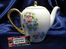 Vintage Hand Painted Coffee Server Pot with Pink and Blue Flowers 1955