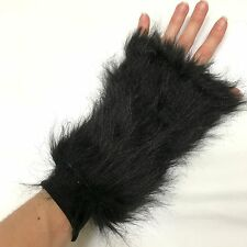 Long Fur Arm Cuffs Black Bands Animal Gloves Furry Furries Costume Wolf Cat Dog