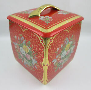 vintage Red Cookie Tin with Roses and Flowers Made in West Germany 4.5 x 4.5 x 6