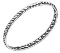 Elements 925 Oxidised Polished Sterling Silver Twisted Band Oval Stacking Bangle